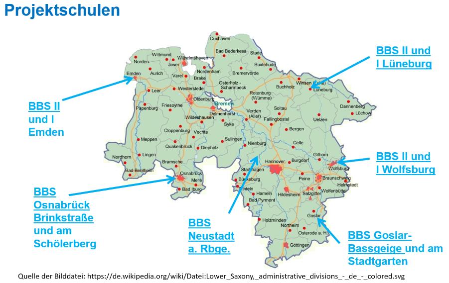 Karte von Niedersachsen mit den beteiligten Standorten