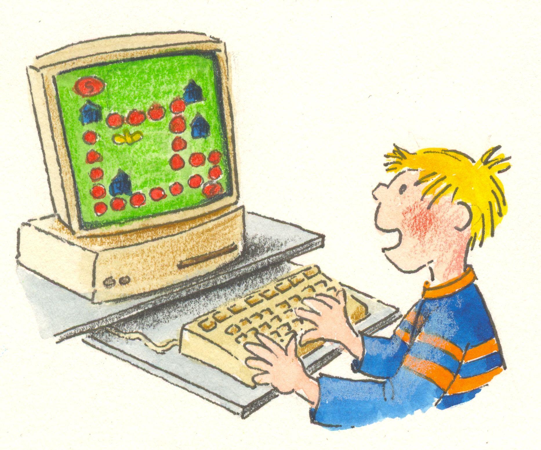 Картинки рисованные мальчик играет в компьютерные игры