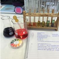 Eine Klasse setzt ihre Computer im Chemieunterricht ein