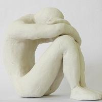 Erschöpfter, trauriger Mensch (Schülerarbeit)