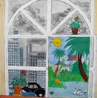 Blick aus einem Fenster (Schülerarbeit)